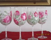 Wine Glasses hand painted floral design dark pink with white set of four