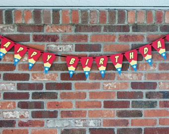Wonder Woman Party Banner, Wonder Woman Birthday Banner