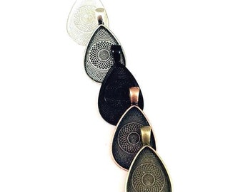 10 22X30mm teardrop pendant tray you choose colors silver antique silver bronze copper black