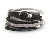 Black Gray Silver Bohemian Bracelet, Silver Gray Black Wrap Boho Bracelet, Men's Leather Bracelet, Bohemian Jewelry, gift for him, boho