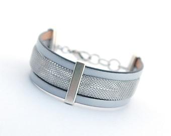 Silver Men's Leather Bracelet, Stainless Steel Bracelet, Modern Men's Bracelet, Minimalist Men's Jewelry, Modern Men Bracelet, Gift for Him