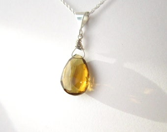 Beer Quartz Gemstone Necklace-Gemstone Diamond Shape-Sterling Silver Simple Necklace