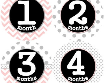 Baby Monthly Milestone Growth Stickers Light Pink Grey Black Dots Chevrons Nursery Theme MS144 Baby Shower Gift Baby Photo Prop