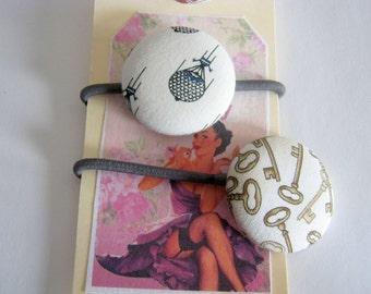 Hair Elastics Steampunk Keys and Air Balloon Ponytail Ties