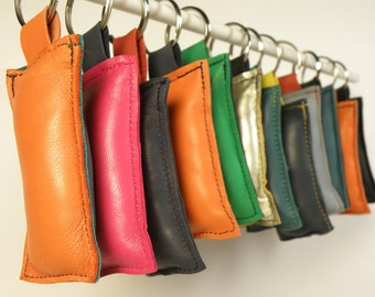 set of 3 leather keychain POP