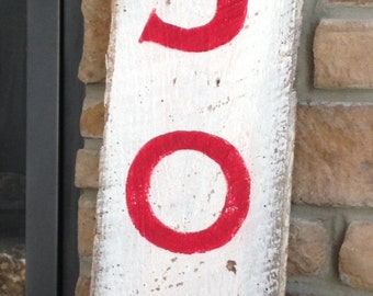 """SOLD!! Hand Painted """"JOY"""" Sign ~ Reclaimed Barn Wood"""