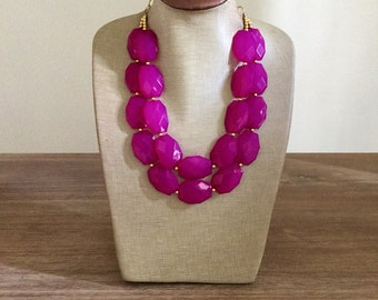 Bright Berry Pink Statement Necklace