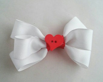 Red and White Valentines Heart Bow