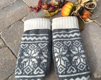 Fleece, glove lined, wool mittens made from recycled sweaters.