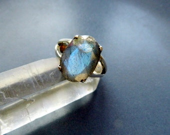 Faceted Labradorite, ring, sterling silver, silver, jewelry