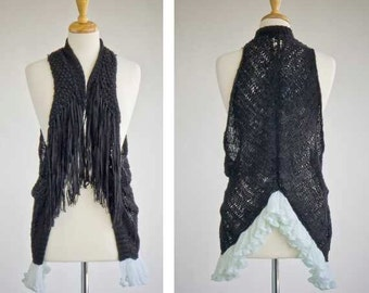 Womens - girls repurposed black fringe vest with seafoam ruffle S-M