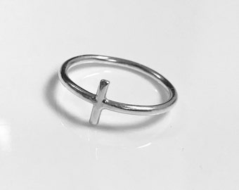 Sterling Silver Cross Halo Ring
