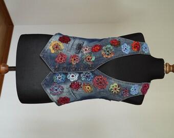 Unique Vest, Jeans, Boho, Flowers,  Upcycled, Aplique