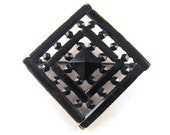 Unusual Brooch Rose Cut Jet Look Wood Ebony With Japanned Metals Square or Diamond Checkerboard Pattern Older Piece