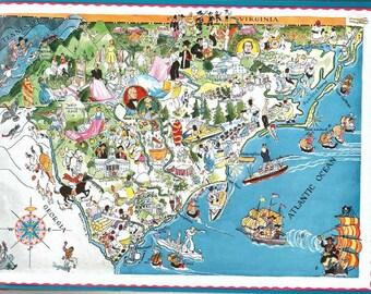 South Carolina Map / North Carolina Map / Vintage Map Wall Art / Old State Art / Raleigh, Charlotte NC, Charleston SC / Travel Wall Decor