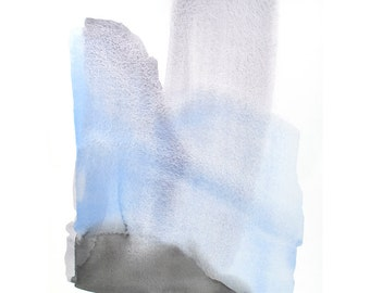 large original watercolor, blues with mauve to grey, contemporary painting, one-of-a-kind art piece // 30.5x23 inches