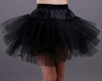 3 Layer Short Knee Crinoline Petticoat Underskirt Sz XS to S BLACK