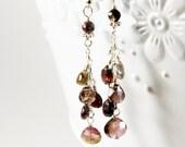 Multi tourmaline earrings, Sterling Silver wire wrapped gemstone, pink, green, fine dangle earrings, cluster earrings, gift for her, 3274