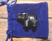 Carved Obsidian Elephant with Royal Blue Bag