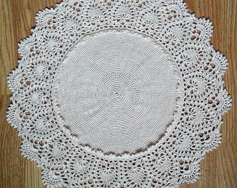 "Off-White crochet doily Round 38 cm / 16"". Crocheted Doily."
