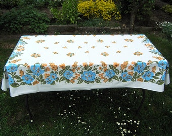 Vintage Blue Floral Tablecloth, Synthetic Rectangular Tablecloth with Blue and Yellow Flowers, Floral Table Linens