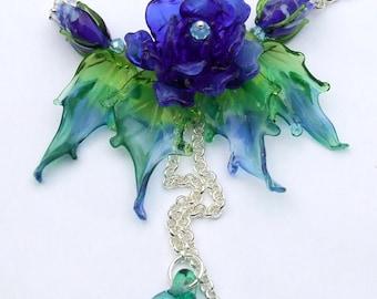 Lampwork Necklace, Lampwork Rose Necklace, Romantic Roses Bouquet, Festive Glass Floral Necklace, Unique Gift, Ready to Ship !