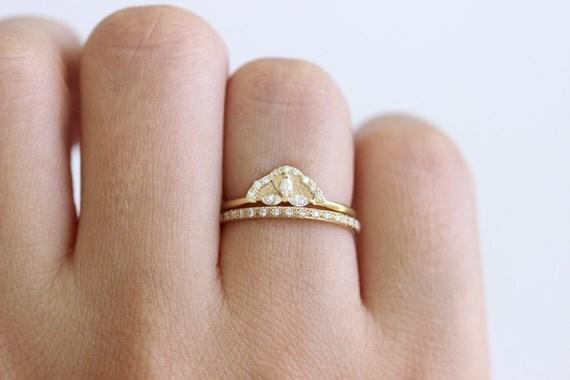 Diamond Wedding Set Cluster Bridal Ring Eternity Marquise Engagement