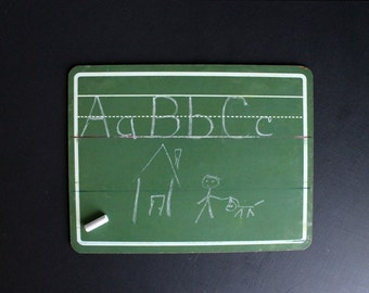 Vintage Chalkboard Green Educational Lined Writing Practice Board For Children