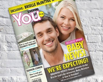Magazine Cover Pregnancy Announcement / Facebook Announcement / Baby Shower Gift / We're Expecting! Personalized Magazine Cover