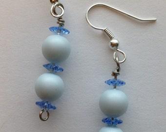 Blue Swarovski Crystal and Pearl Beaded Dangle Earrings