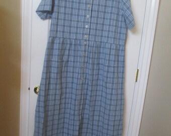 Womens denim dress plus size 1X denim dress vintage plaid denim dress