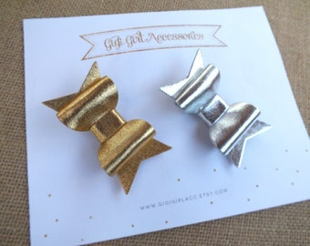 Chunky Metallic Hair Bows, Set of 2, Gold Hair Bow, Silver Hair Bow, Gold Glitter Bows, Glitter Hairbows