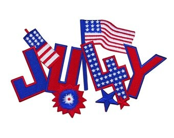 ID 5047 Large Fourth 4th of July Patch American Patriotic Craft Iron-On Applique