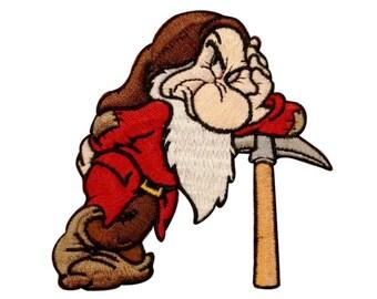 Grumpy Dwarf Patch Disney Fan Snow White Cartoon Craft Apparel Iron-On Applique