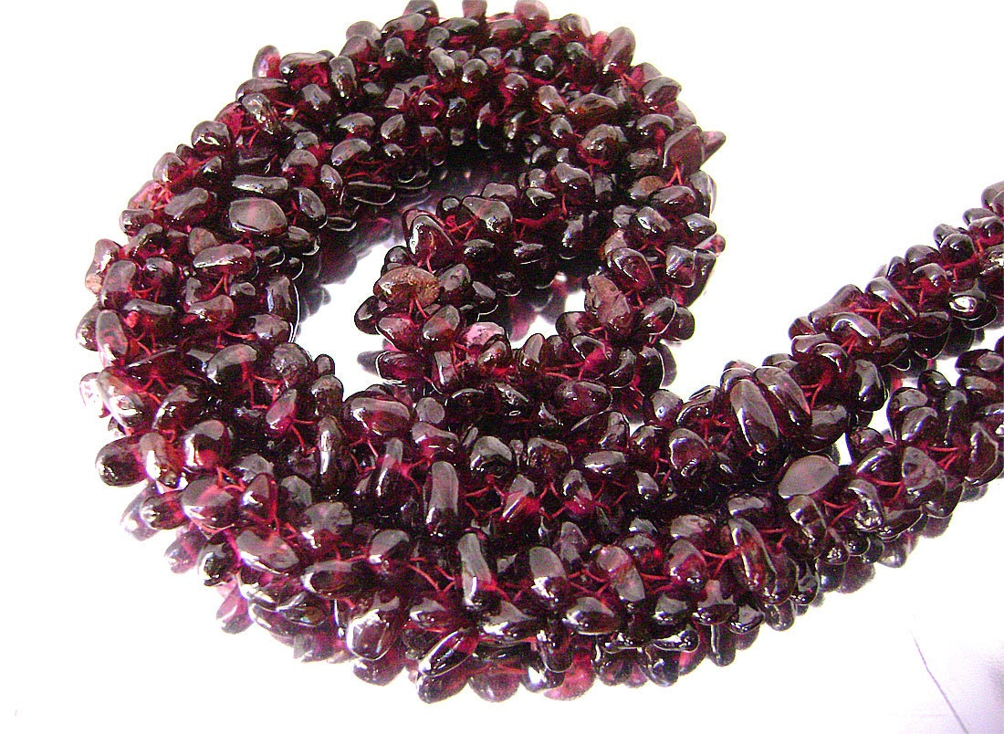 vintage genuine garnet beaded thick rope necklace garnet