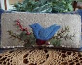 Christmas Blue Bird Shelf Pillow Tuck