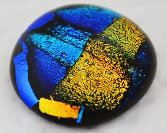 Dichroic Cabochon, Jewelry Supply, Blue. Copper & Gold Cabochon