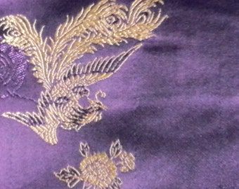Royal Purple Gold Brocade Fabric