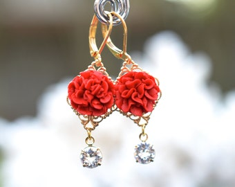 Richelle Statement Earrings in Red Carnation with Crystals . Carnation Flower Earrings.