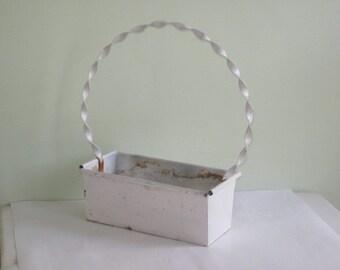 Vintage Shabby Chippy White Metal Flower Basket