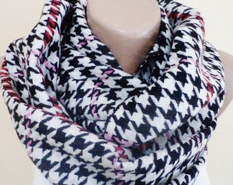 Scarf Cotton and Wool Infinity Scarf For Her Gift İdeas Fabric Scarf Handmade scarf Fahion Accessories Scarves Neckwarmer