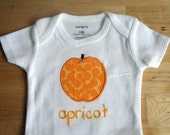 APRICOT Onesie / Bodysuit - Baby Girl or Boy, Short Sleeve - Available in NB, 3, 6, 9, 12, 18 and 24 months