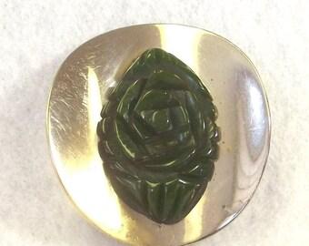 FALL SALE, Bakelite Chrome Dress Clip - Vintage Bakelite Jewelry - Green Bakelite Fur Clip