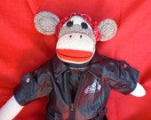 King Of The Road Motorcycle /Biker Sock Monkey Doll