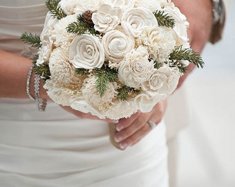 Wedding Bouquet, Ivory Sola wood Bouquet, Pine winter Bouquet, Bridal Brooch Bouquet, Sola flowers, Bouquet, Handmade
