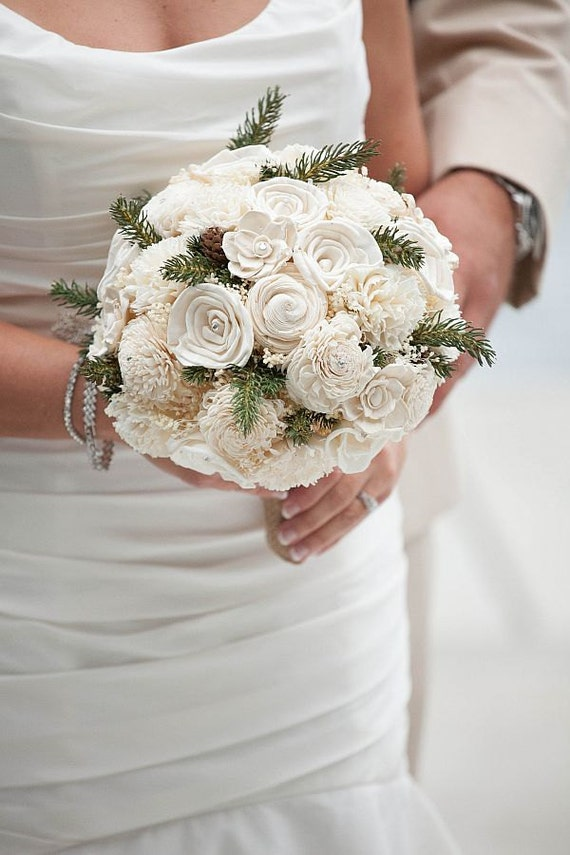 wooden flowers wedding bouquets wedding bouquet ivory sola wood bouquet pine winter bouquet 1486