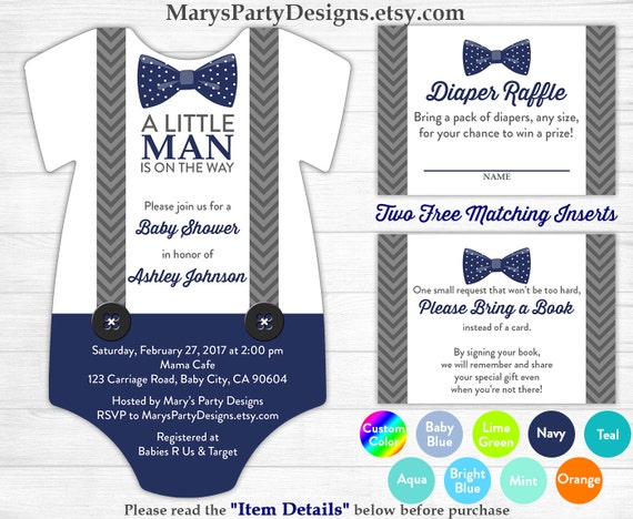 little man baby shower onesie invitation boy baby navy blue bow tie