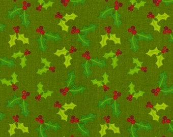 Green Christmas Fabric  - 1 Yard Cut -  AE Nathan Fabric - Green Fabric - Christmas Fabric - Cotton Fabric - Quilting Fabric