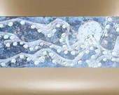 octopus original art textured impasto modern paintingcontemporary 40x16 FREE SHIP