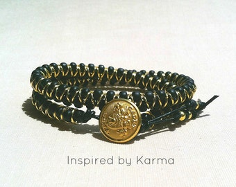 West Point, USMA Cadet Button Leather Wrap Bracelet,West Point,Military Jewelry,West Point Jewelry, USMA Bracelet,Wrap Bracelet, Proud Mom